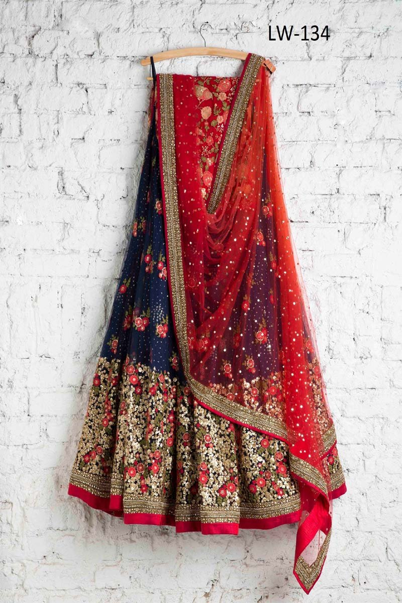 DARK-BLUE-RED COLOR DESIGNER LEHENGA CHOLI WS-134