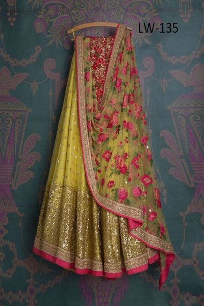 LIME YELLOW COLOR DESIGNER LEHENGA CHOLI WS-135