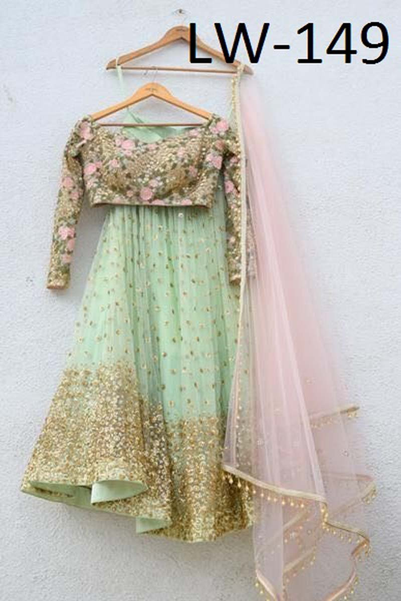SEA-GREEN AND LIGHT PINK COLOR FANCY LEHENGA CHOLI WS-149