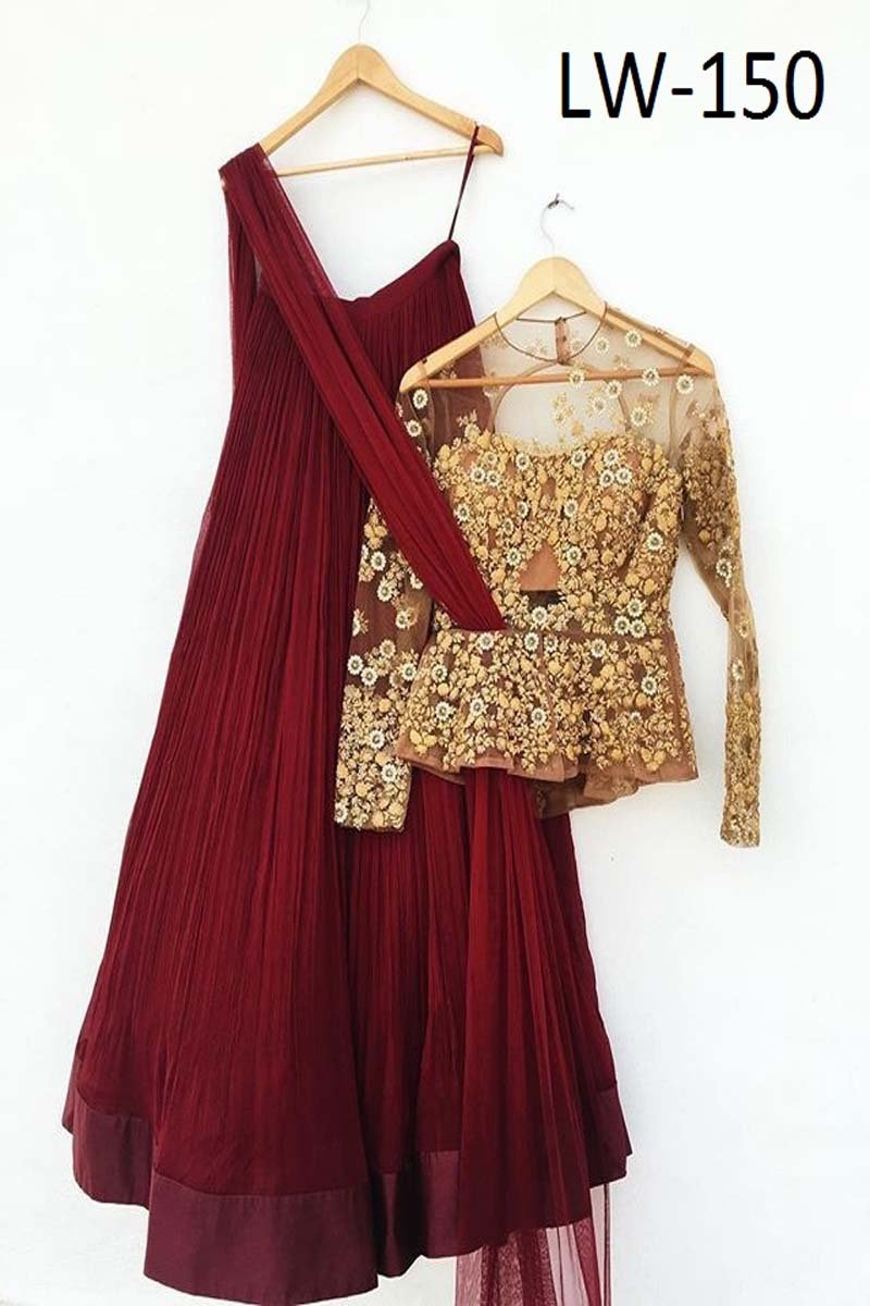 DARK-MAROON COLOR DESIGNER LEHENGA CHOLI WS-150