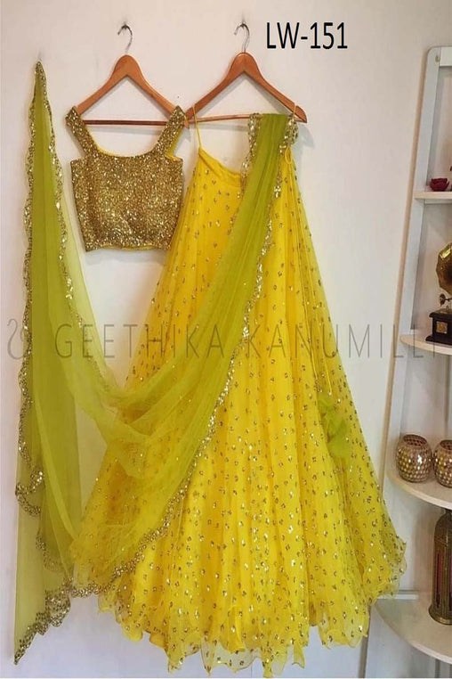 BRIGHT YELLOW COLOR FANCY DESIGNER LEHENGA CHOLI WS-151