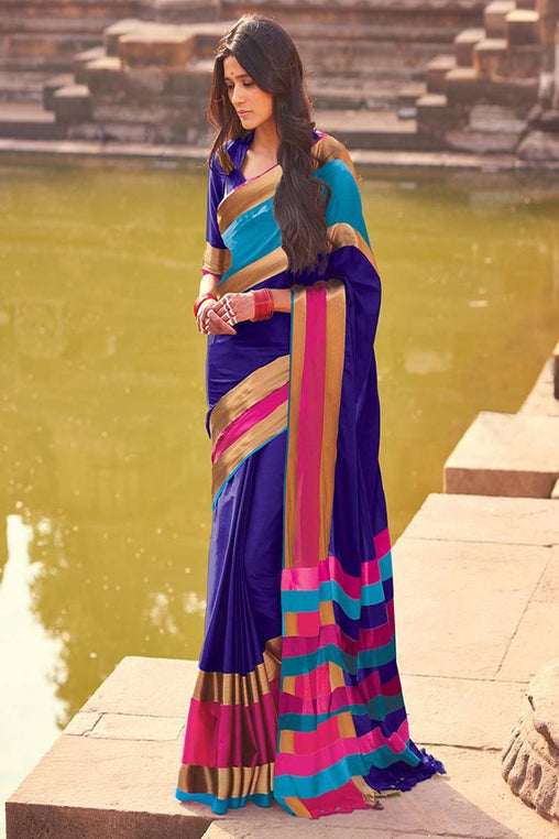 Blue And pink color cotton silk saree -aangi+