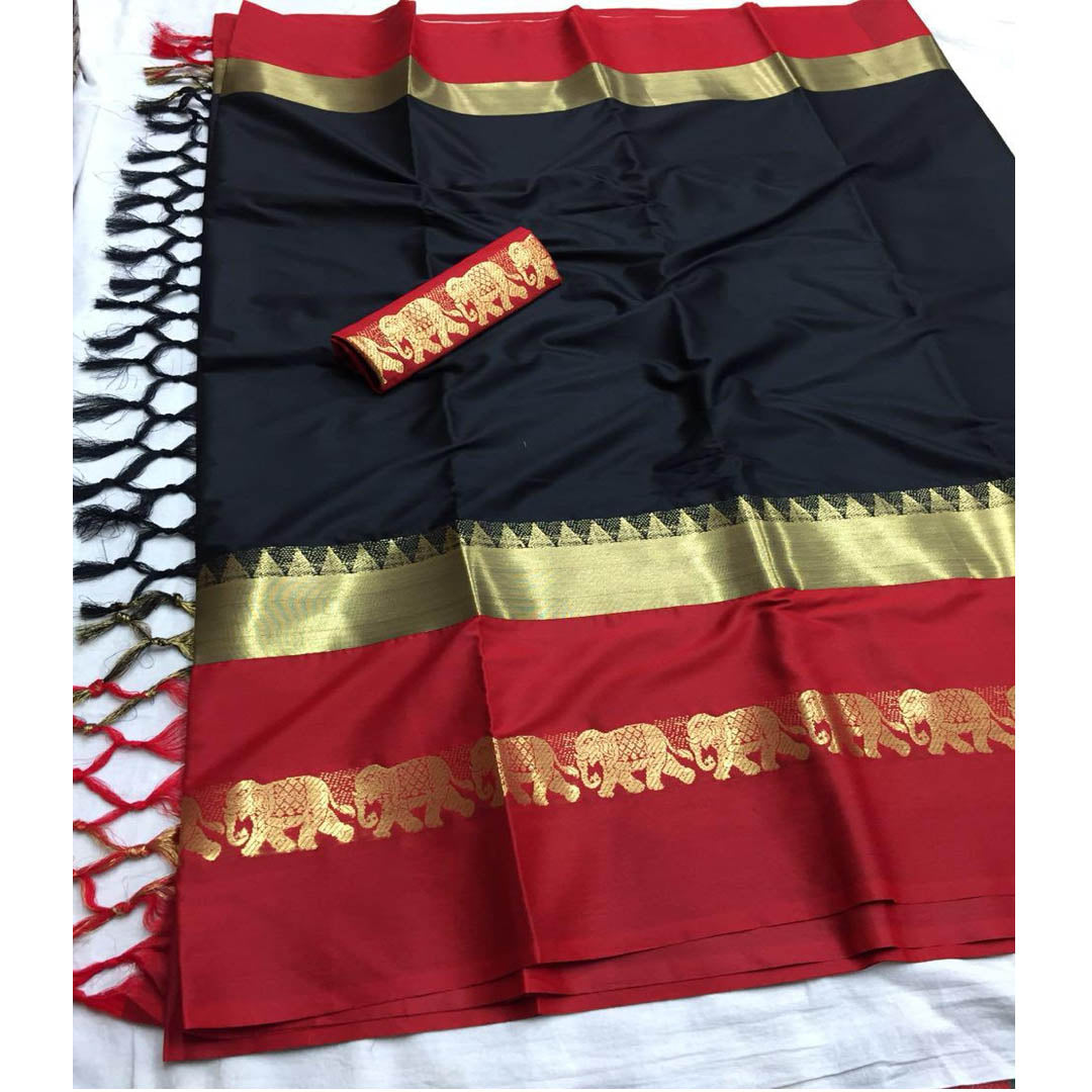 BLACK RED ELEPHANT BORDER COTTONSILK SAREE WS-9001