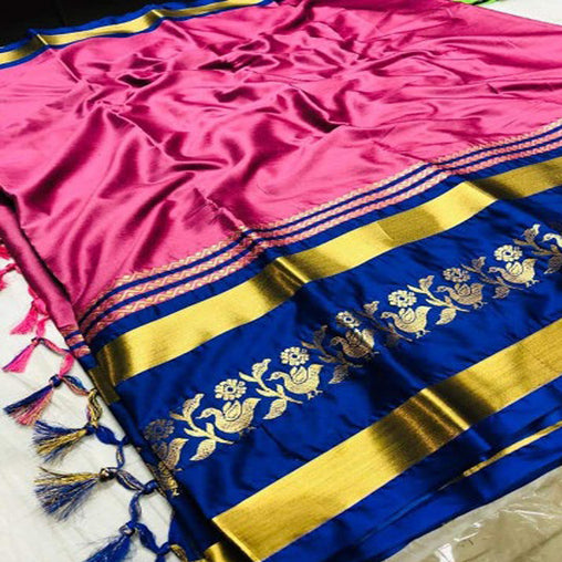 GOLD AND BLACK COLOR COTTON SILK SAREE (PEACOCK)