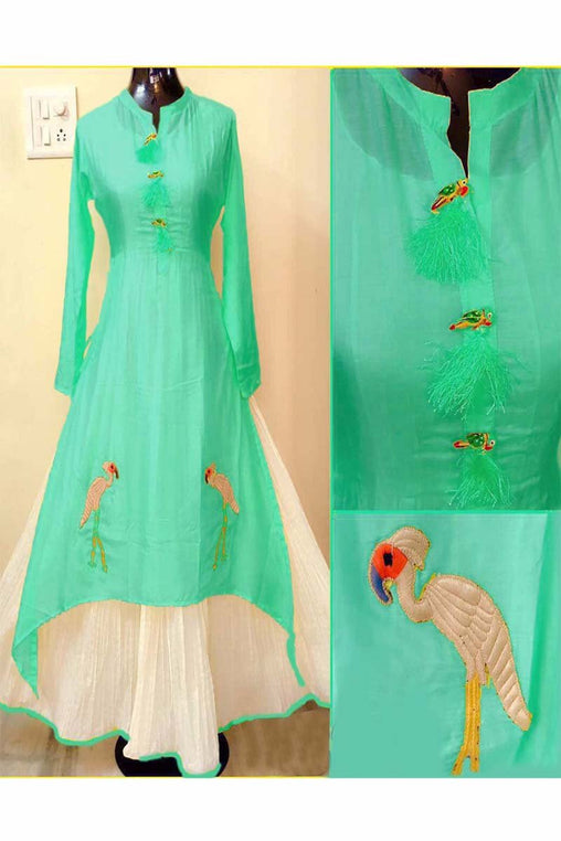 Sea Green Color Designer Embrodried Kurti Ws-1001