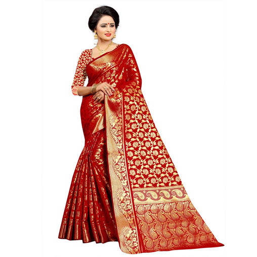 RED COLOR UNIQUE JACQUARD WORK SILK SAREE WS-919