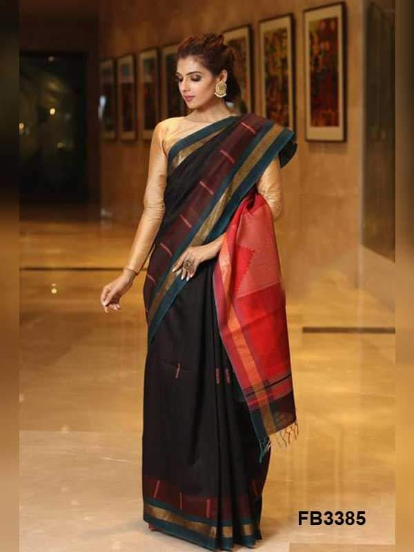 Black color soft silk saree WS-2143