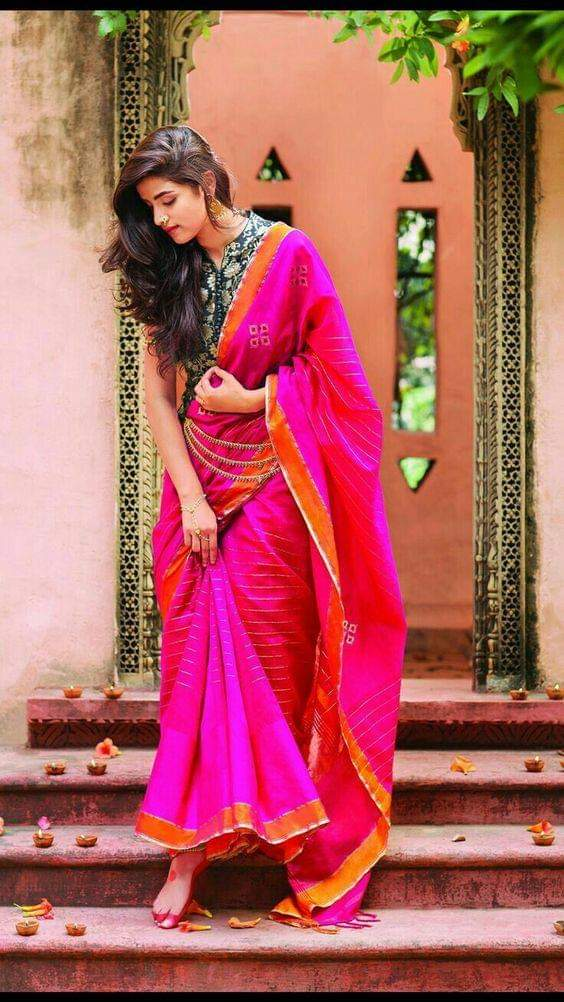 Pink color soft silk saree WS-2150