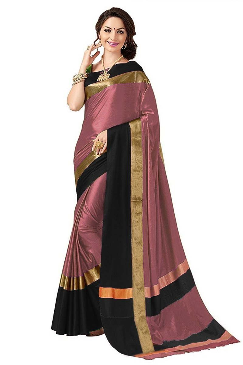 peach and black color cotton silk saree