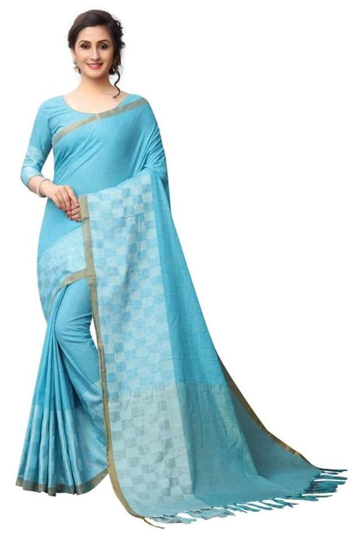 Sky Blue Color Pure Linen Saree Ws-5002