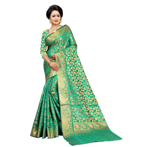 SEA-GREEN COLOR UNIQUE JACQUARD WORK SILK SAREE WS-922