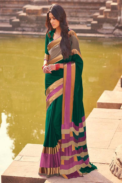Women Store Green And Pink Cotton Silk saree Aangi plus