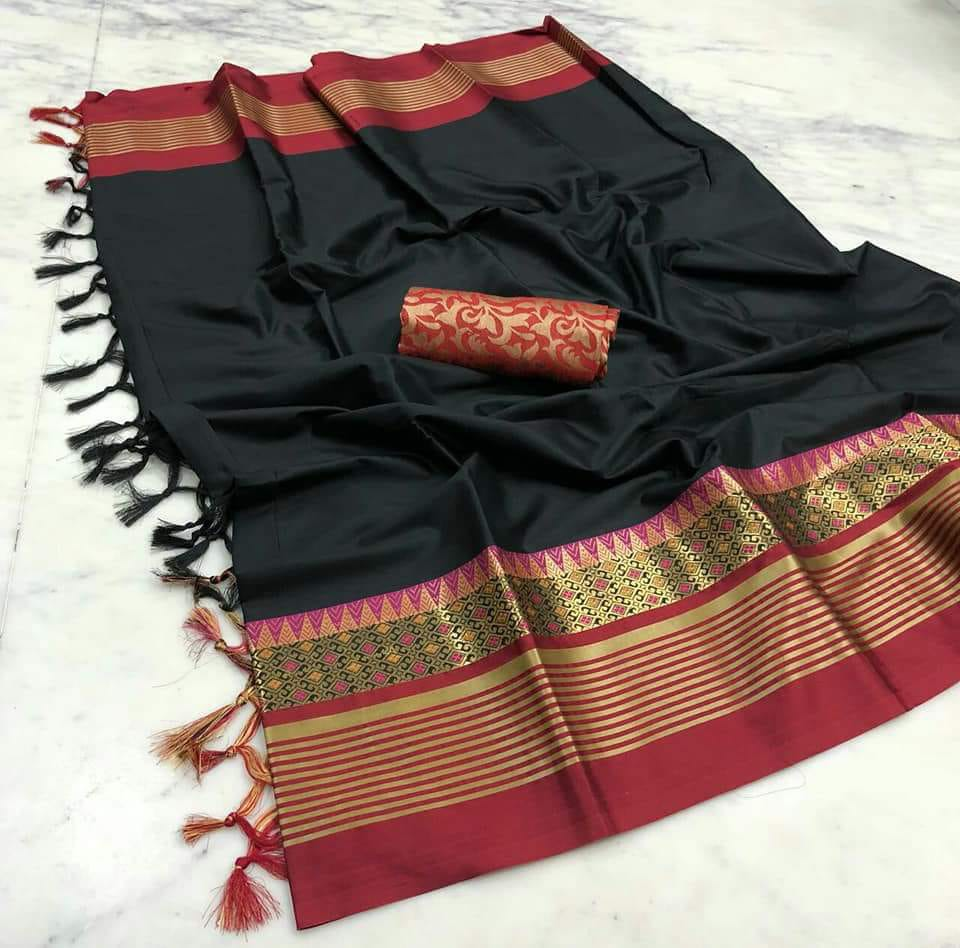 BLACK MAROON JEQUARD DESIGN COTTON SILK SARI WS-8022