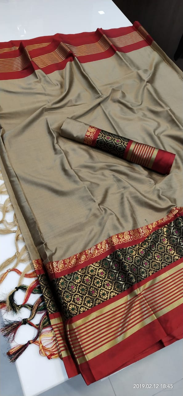 GRAY MAROON BORDER JEQUARD DESIGN COTTON SILK SARI WS-8031