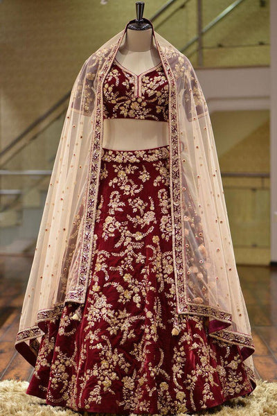 Marron Color Designer Bridal  lehenga choli ws-3025