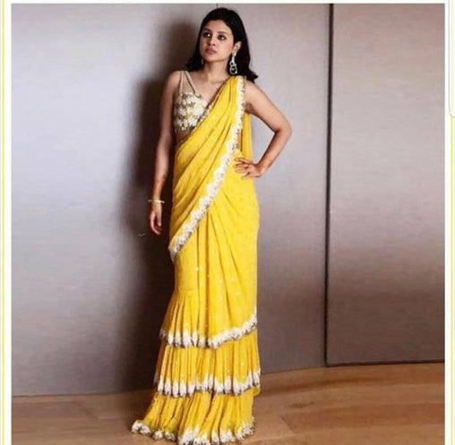 Yellow Color Designer Raffel Saree ws-3035