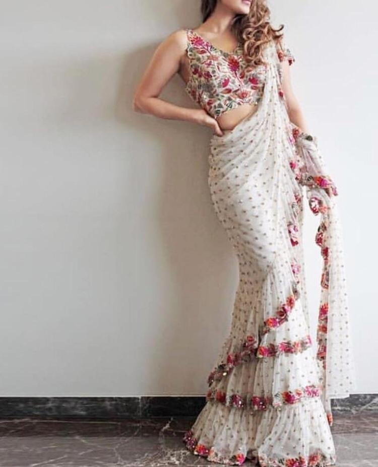 White Color Designer Raffel Saree ws-3040