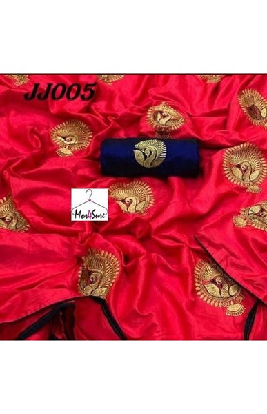 RED COLOR DESIGNER PARTY WEAR SANA SILK EMBROIDERY WORK SAREE WS4052