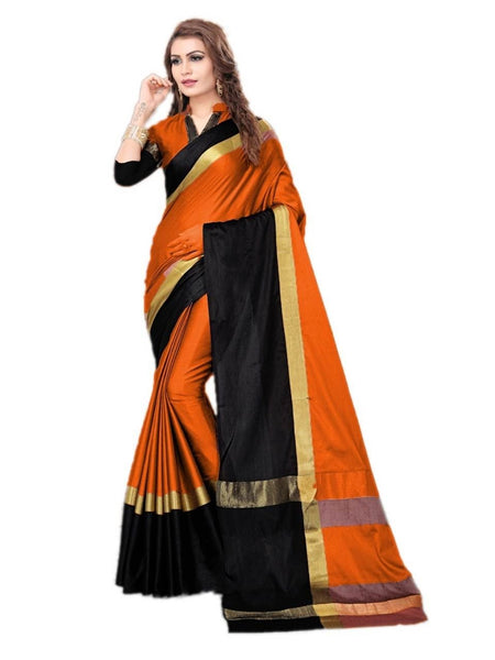 Orange And Black Color Silk Saree