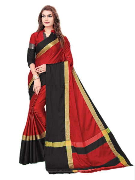 Red And Black  Color Silk Saree