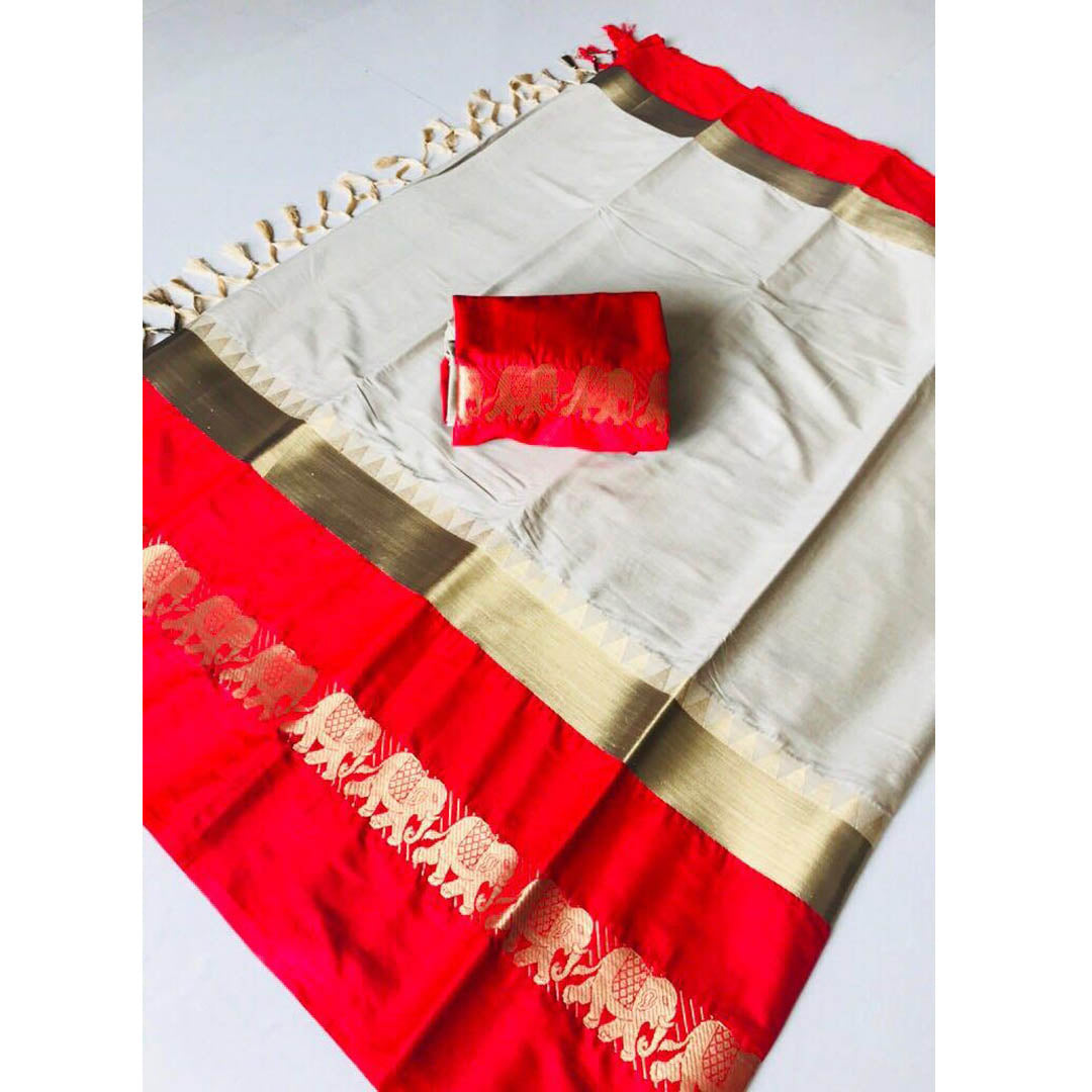 GRAY RED ELEPHANT DESIGN COTTON SILK SARI WS-9003