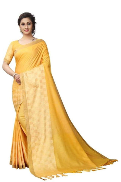 Yellow Color Pure Linen Saree Ws-5003