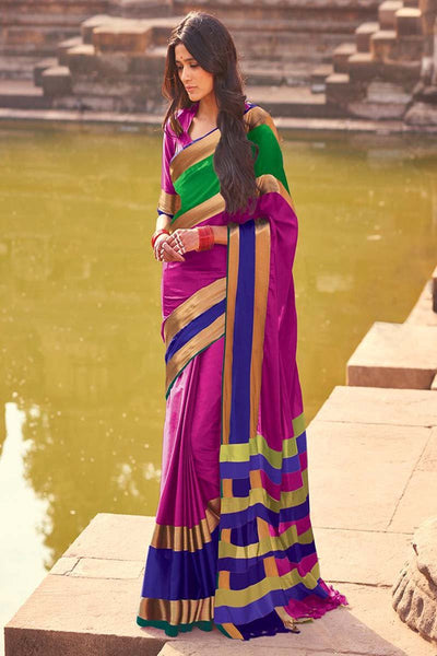 Women Store Pink And Blue Cotton Silk saree aangi Plus