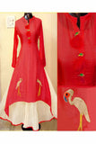 Red Color Designer Embrodried Kurti WS-1003