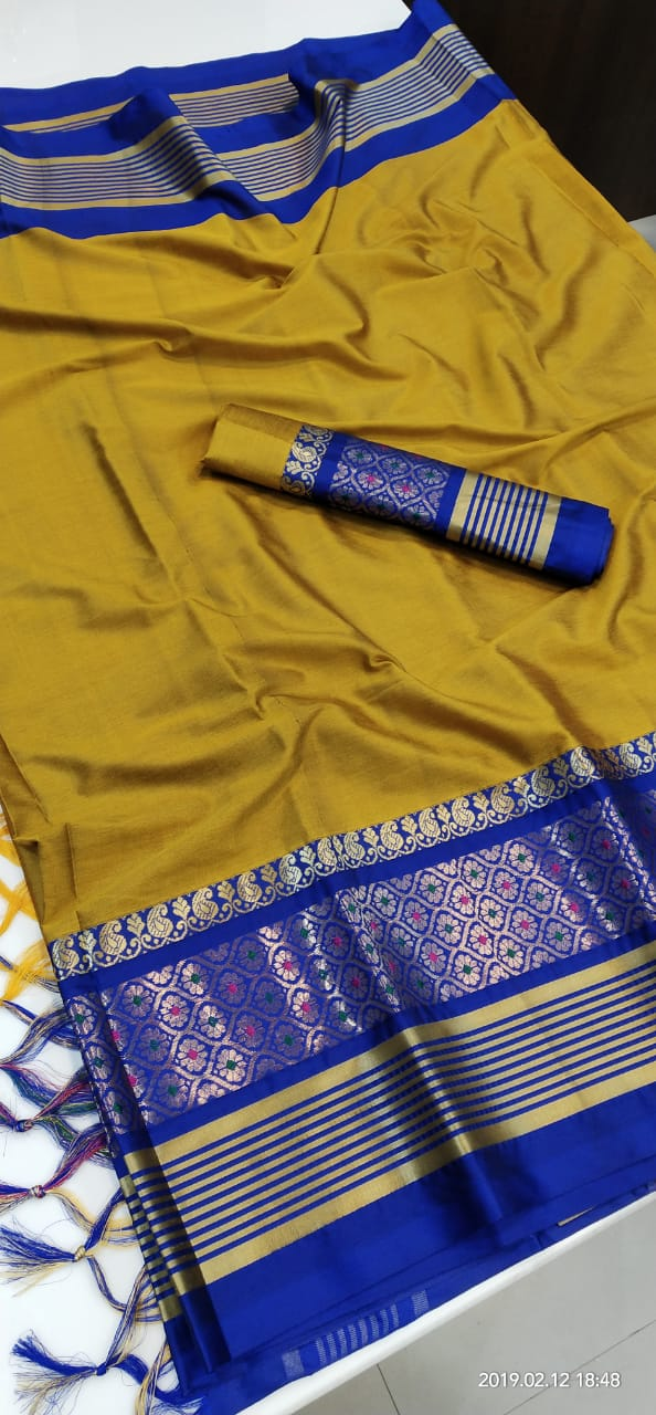 MUSTERD BLUE BORDER JEQUARD DESIGN COTTON SILK SARI WS-8025