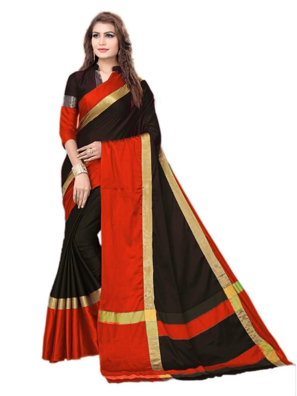 Black And Red Color Silk Saree