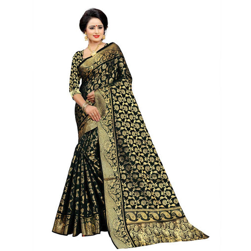 BLACK COLOR UNIQUE JACQUARD WORK SILK SAREE WS-920