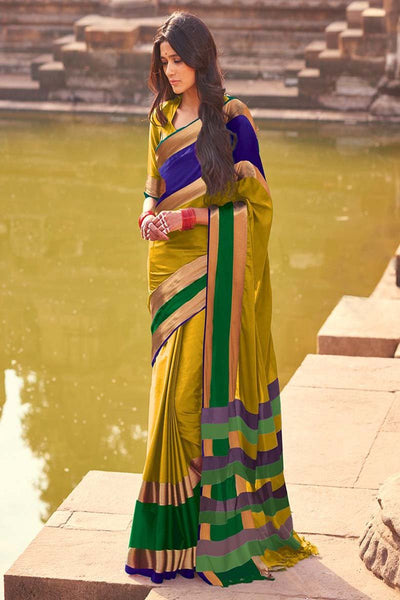 Women Store Musterd And Green Color Cotton Silk Saree Aangi Plus
