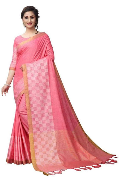 Pink Color Pure linen Saree Ws-5004