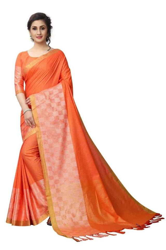 orange Color Pure Linen Saree Ws-5005