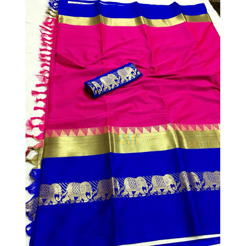 PINK BLUE ELEPHANT BORDER COTTON SILK SARI WS-9005