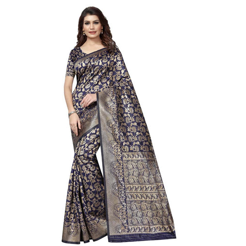 DARK-BLUE COLOR UNIQUE JACQUARD WORK SILK SAREE WS-921