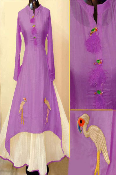 Purple Color Designer Embrodried Kurti Ws-1005