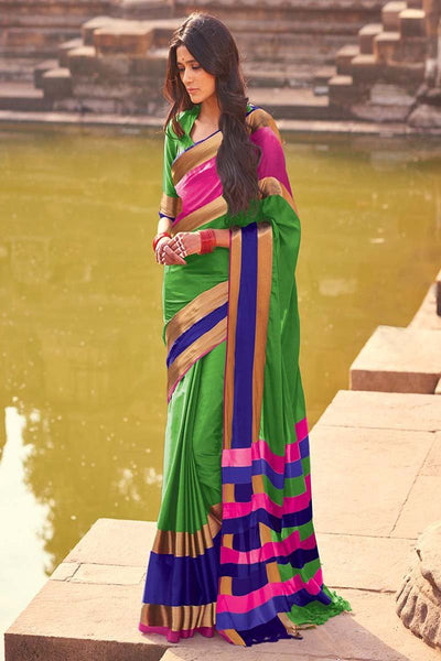Women Store Green And Blue Color Cotton Silk Saree Aangi Plus