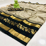 Baluba Cream And Black Jaquard Design Cotton Silk Saree WS-12007