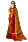 orange and red color cotton silk saree