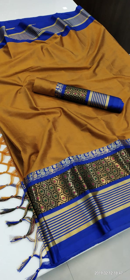 MUSTERD BLUE BORDER JEQUARD DESIGN COTTON SILK SARI WS-8036