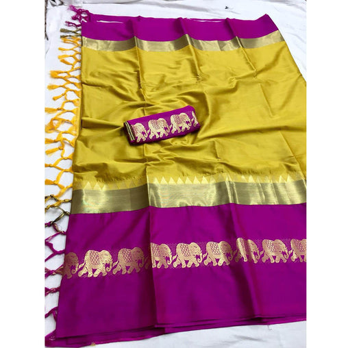 MUSTERD PINK COLOR ELEPHANT BORDER COTTON SILK SARI WS-9006