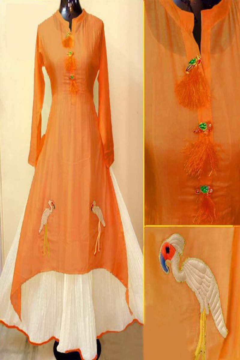 Orange Color Designer Embrodried Kurti Ws-1006