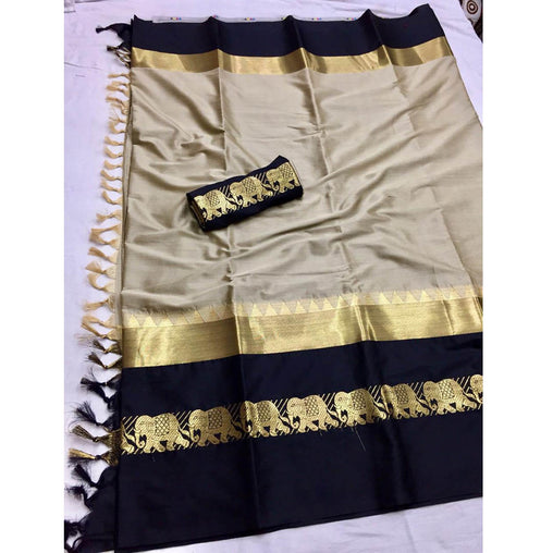 CHIKU BLACK ELEPHANT BORDER COTTON SILK SARI WS-9007