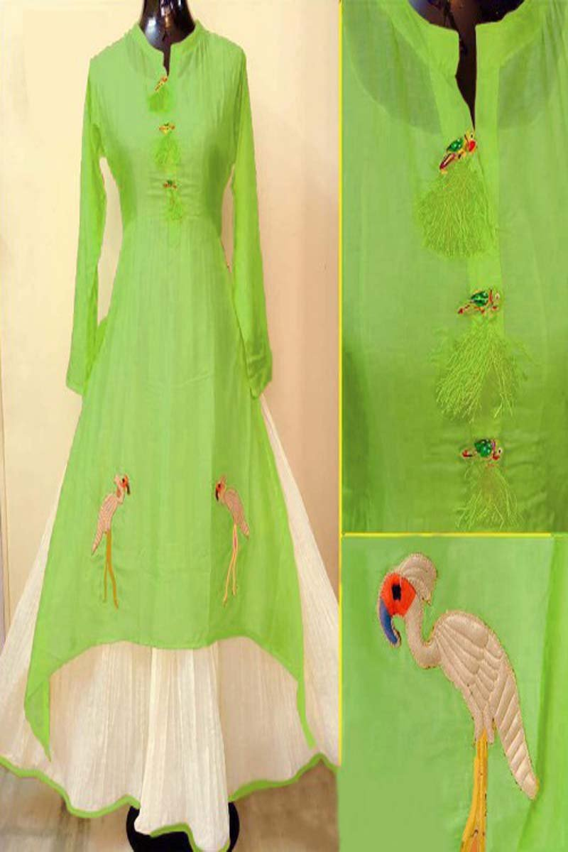 Light Green Color Designer Embrodried kurti Ws-1007