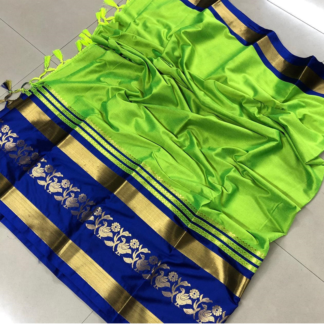 Combath Lime And Blue Design Cotton Silk Saree WS-12005