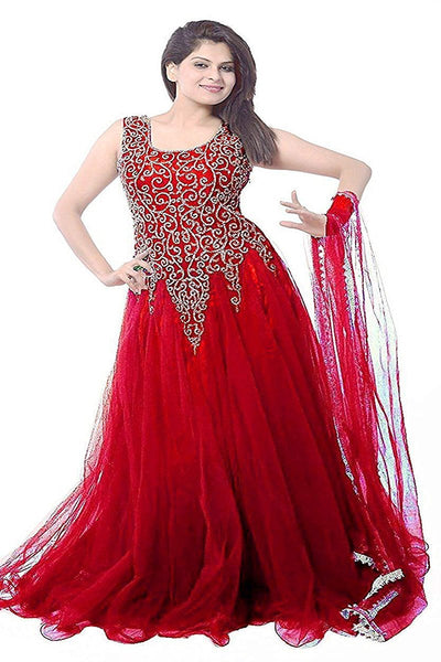 Red color designer embroidery gown