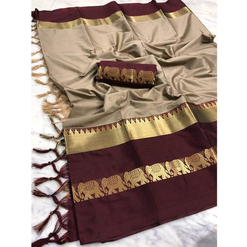 CHIKU WINE ELEPHANT BORDER COTTON SILK SARI WS-9008
