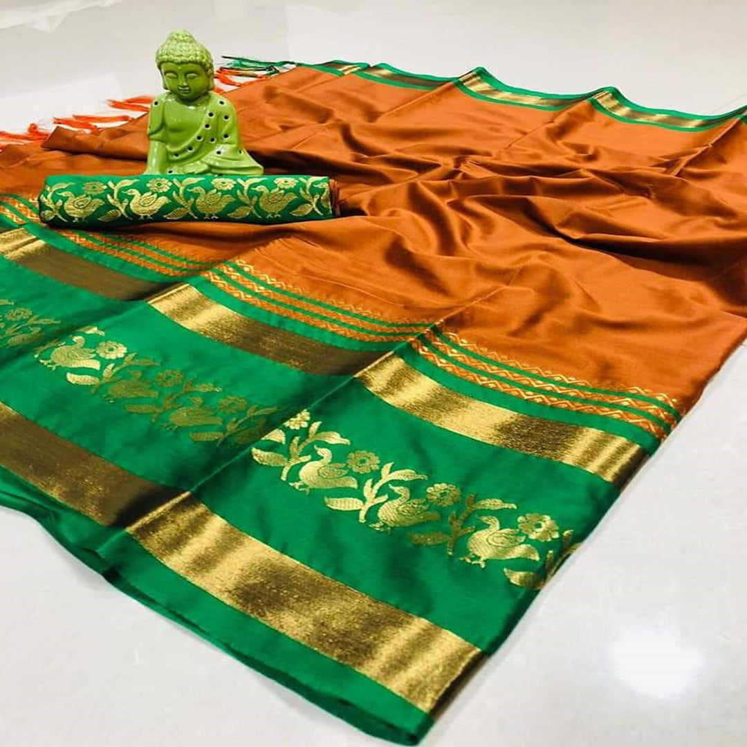 Affluential Orange And Green Design Cotton Silk Saree WS-12009