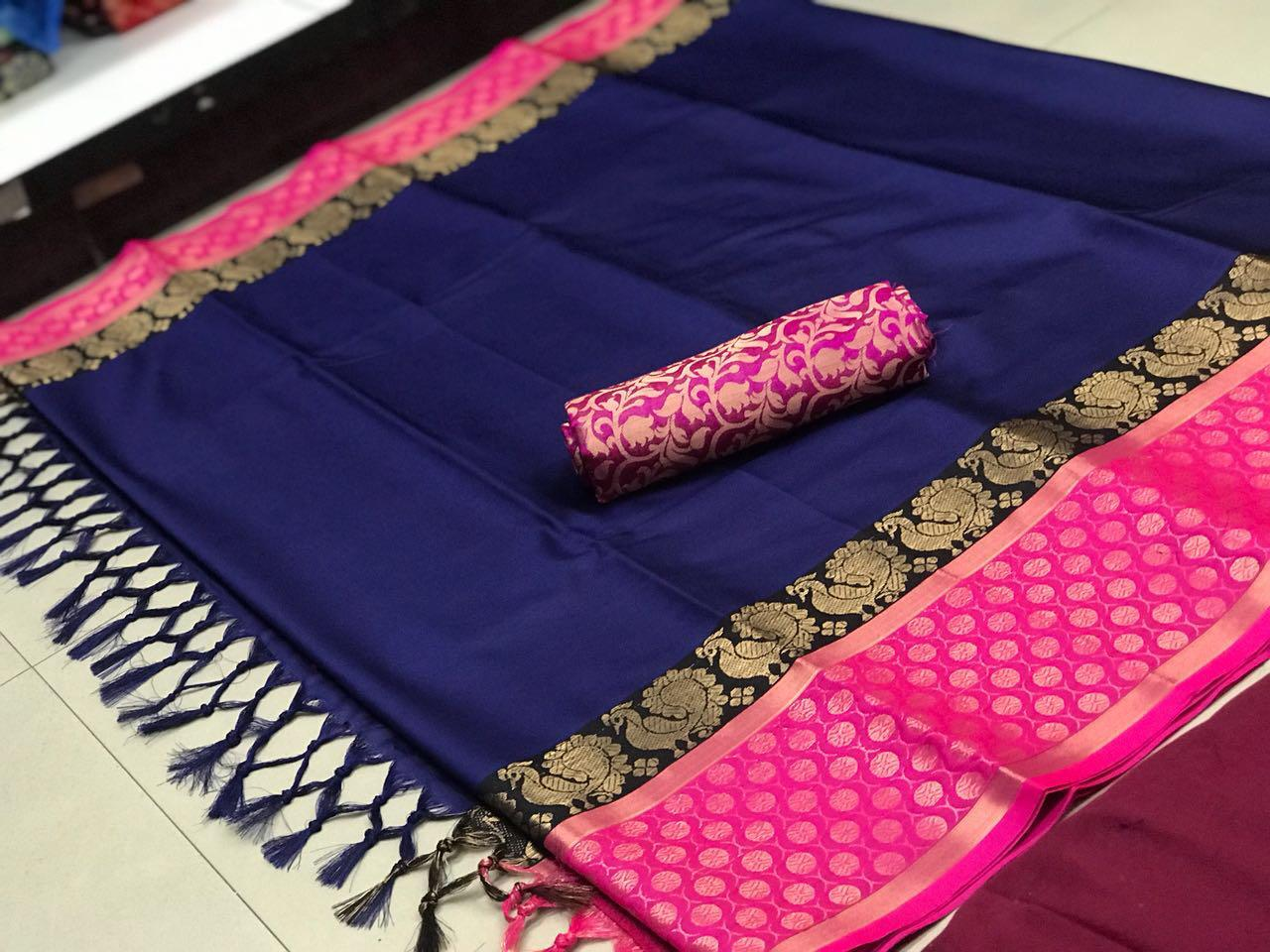 pink & blue color soft silk designer saree ws-4060